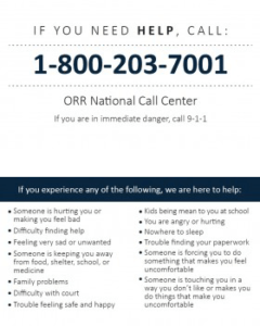 ORR National Call Center wallet card