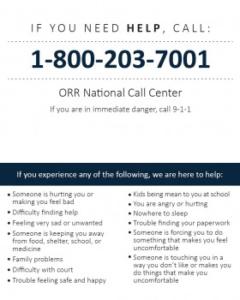 ORR National Call Center wallet card