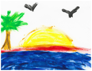 Ocean painting by youth during art therapy