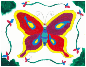 Butterfly art created by youth during art therapy