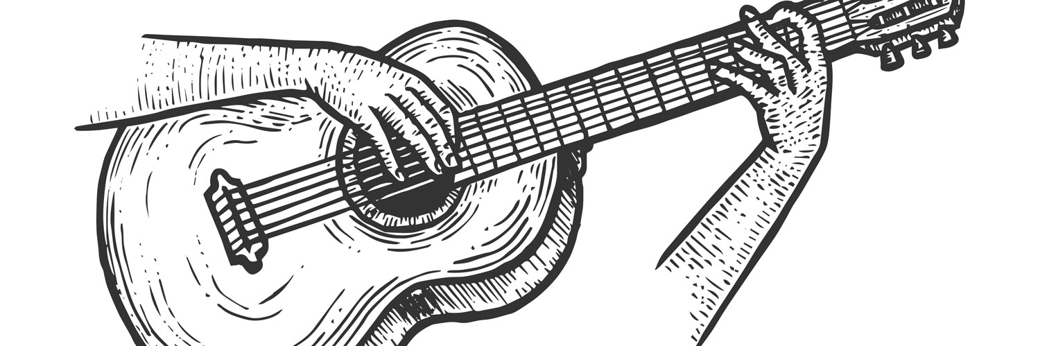 Illustration of hands playing a guitar