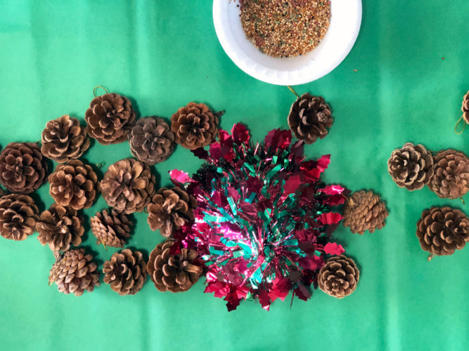 Pinecones and red and green holiday decorations