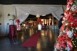 Red carpet entrance to the SWK Quinceanera