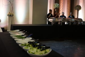Healthy food on a large table at the SWK quinceanera