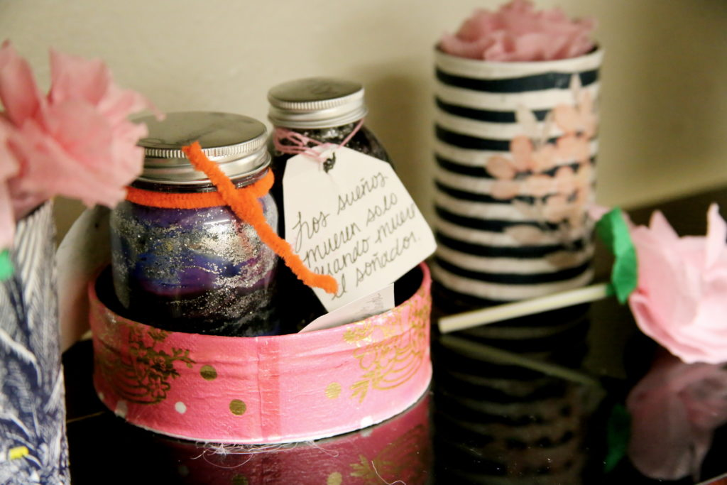 a variety of crafts including homemade labels for jars filled with sand