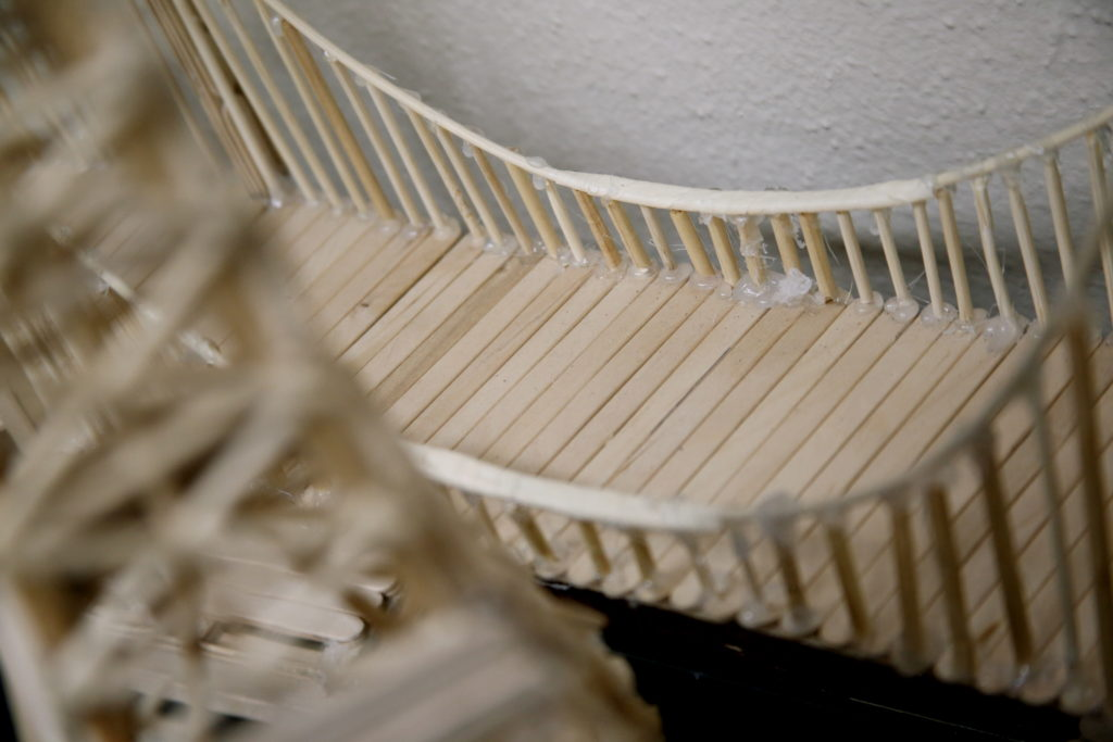 A wooden bridge made from popsicle sticks