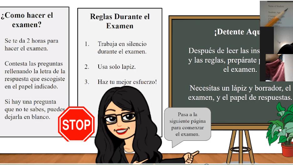 Teacher virutally leading an ESL lesson