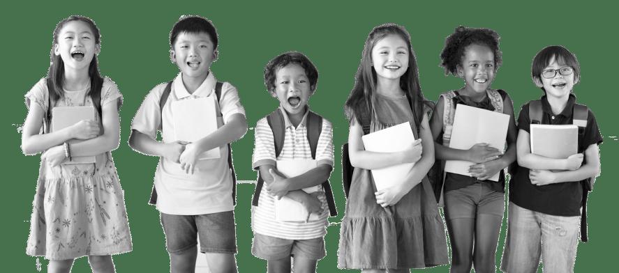 Schoolchildren smiling