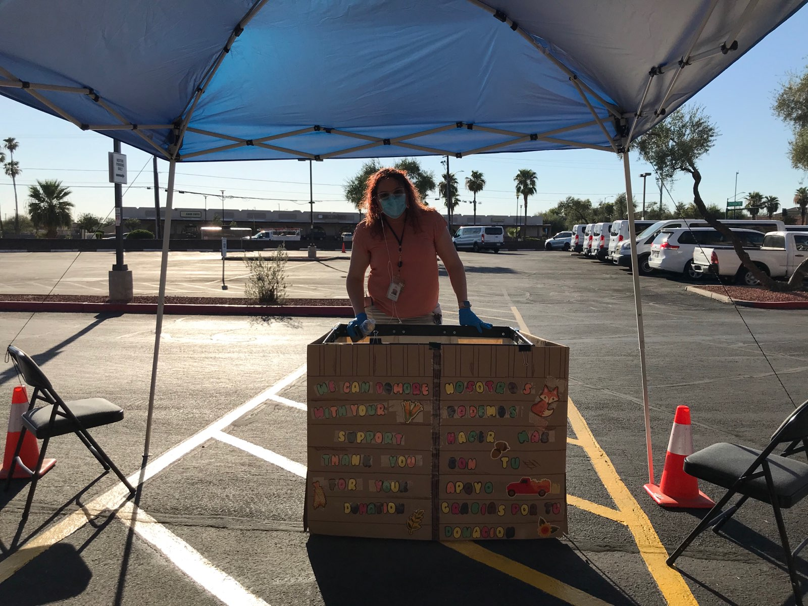 Person with a cart collecting donations