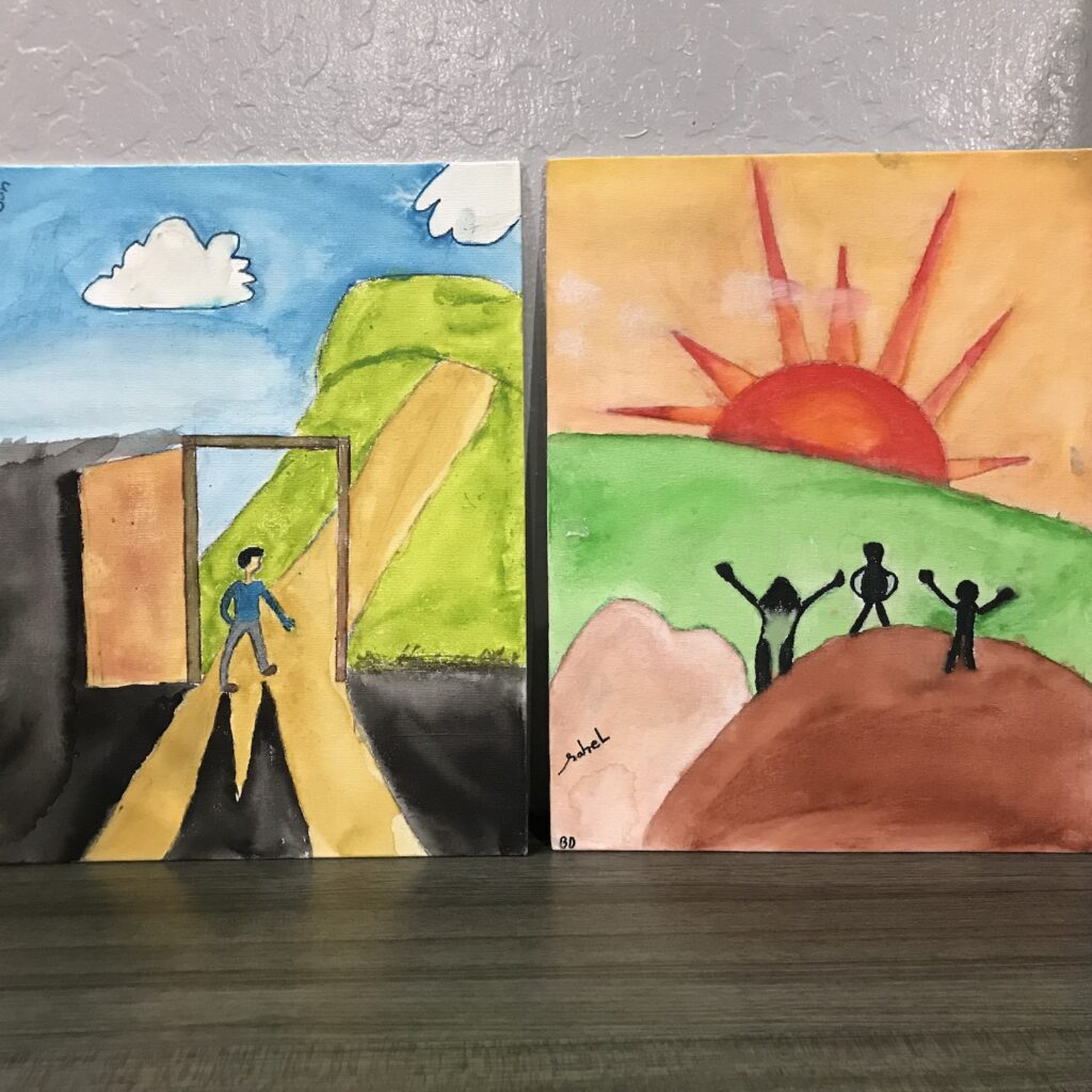 Two canvas paintings at Casa Pleasant Hill