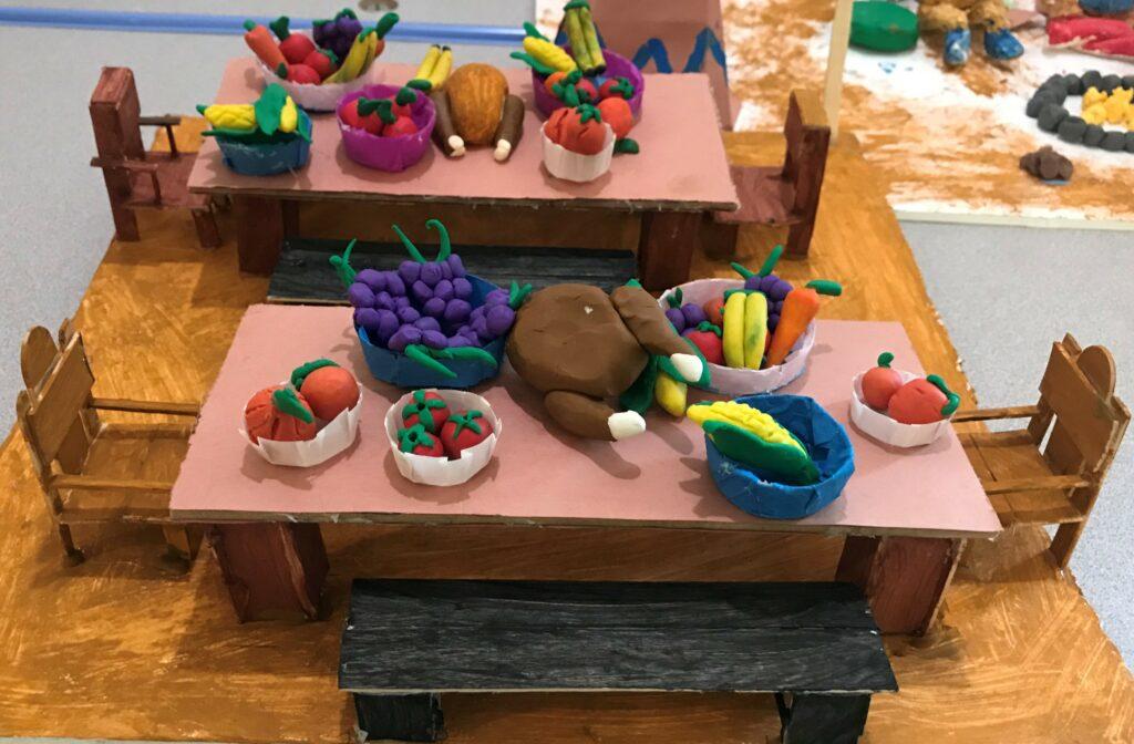 Thanksgiving feast art project at Casa Pleasant Hill