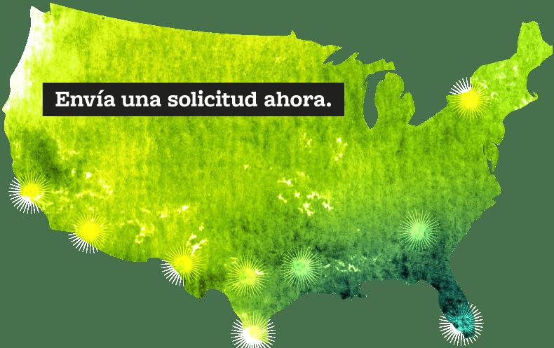 """US Map with """"Envía una solicitud ahora."""" button"""