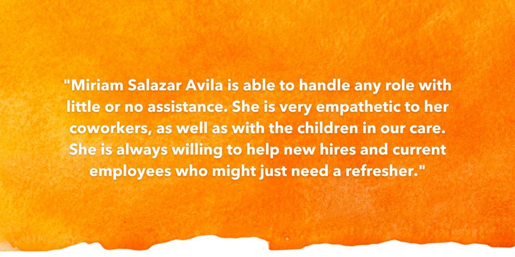 SOSA Testimonial Recognizing Miriam Salazar Avila
